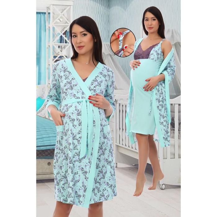 Комплект женский (халат, сорочка), цветочная поляна, цвет ментол, размер 50