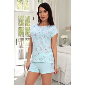 Пижама женская (футболка, шорты), цвет ментол, размер 44