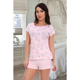 Пижама женская (футболка, шорты), цвет розовый, размер 42