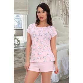 Пижама женская (футболка, шорты), цвет розовый, размер 54
