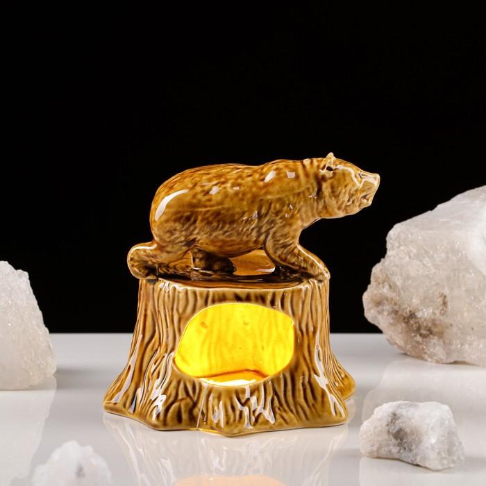 "Аромалампа ""Медведь на пеньке"", керамика"