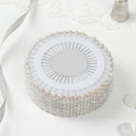 Булавочница круглая, d = 8 см, 38 мм, 40 игл, цвет белый Ош
