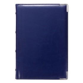 Ежедневник полудатированный А5+, 208 листов Boss, обложка искусственная кожа, золотой срез, синий Ош