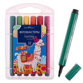 Фломастеры 12 цветов Funcolor Jumbo утолщённые, в пластиковом пенале