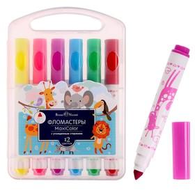 Фломастеры 12 цветов Maxicolor с утолщённым стержнем, в пластиковой коробке