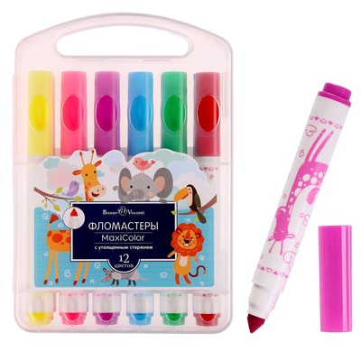 Фломастеры 12 цветов Maxicolor с утолщённым стержнем, в пластиковой коробке - Фото 1