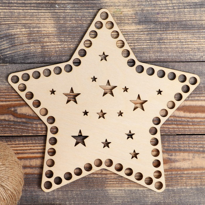 """Заготовка для вязания """"Звездное небо"""", донышко фанера 3 мм, 25 см, d=10мм"""