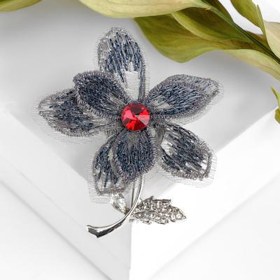 """Брошь """"Цветок"""" альпийский, цвет серо-синий в серебре"""