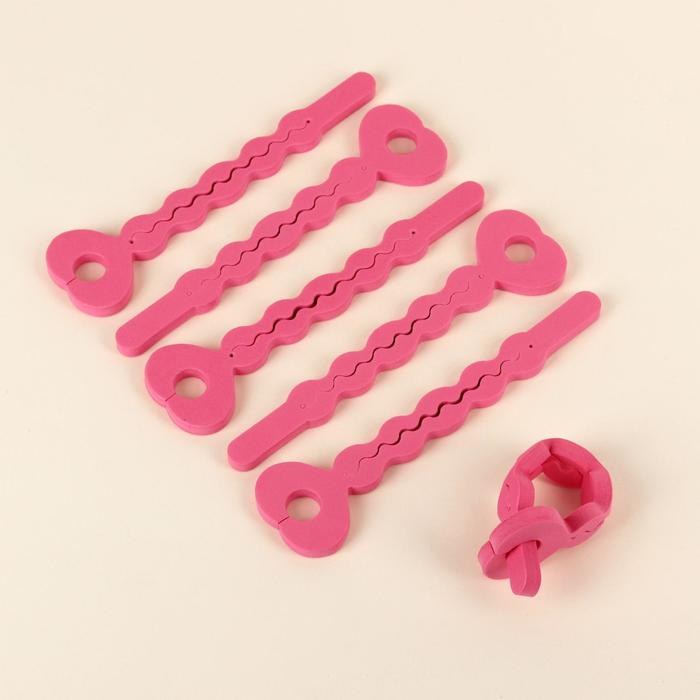 Бигуди с фиксатором, d  1 см, 19 см, 6 шт, цвет розовый