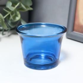 Подсвечник стекло на 1 свечу 'Глянец' синий 4,7х6,2х6,2 см Ош