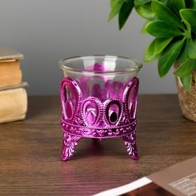 Подсвечник пластик, стекло на 1 свечу 'Капельки' розовый 7х6х6 см Ош