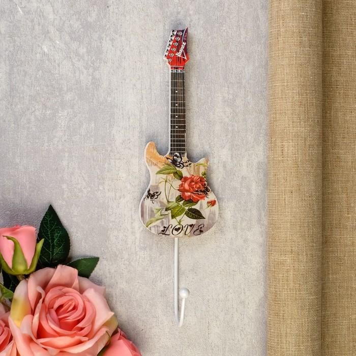 """Крючок декоративный дерево """"Цветочная гитара"""" 28х6,5х5 см"""