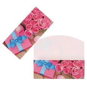 """Конверт для денег """"Универсальный"""" розовые розы, подарок"""