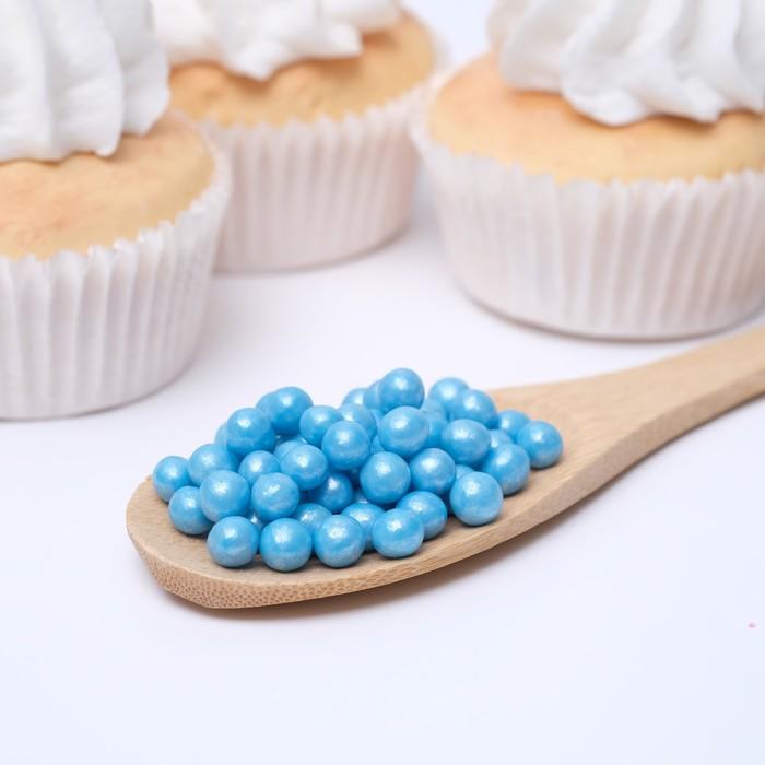 Воздушный рис в кондитерской глазури «Жемчуг», голубой, диаметр 6-8 мм, 50 г