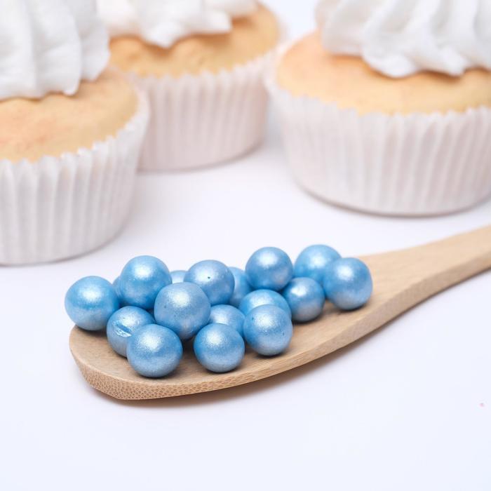 Воздушный рис в кондитерской глазури «Жемчуг», голубой, диаметр 12-13 мм, 50 г