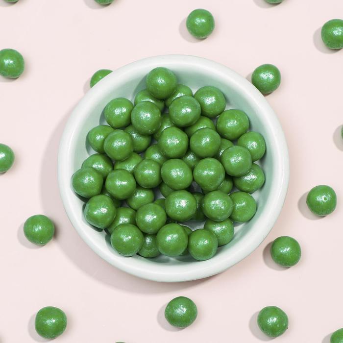 Воздушный рис в кондитерской глазури «Жемчуг», зелёный, диаметр 12-13 мм, 50 г