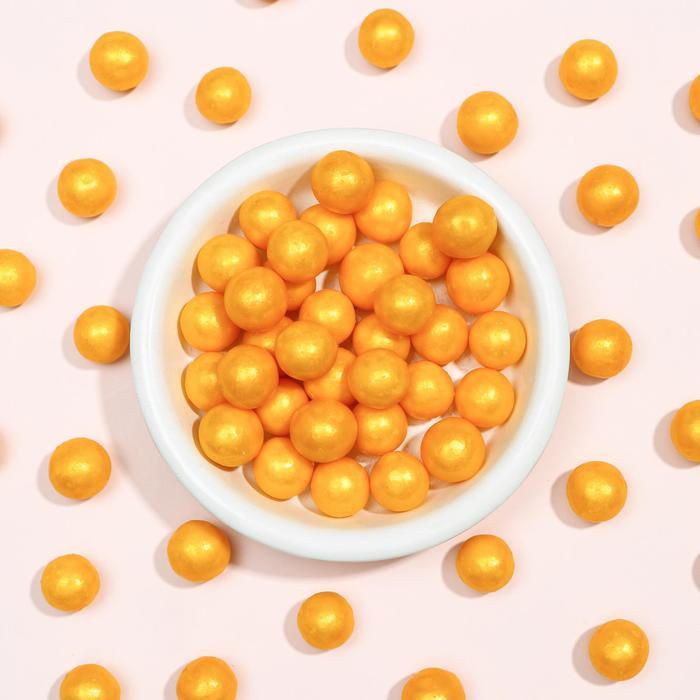 Воздушный рис в кондитерской глазури «Жемчуг», золото, диаметр 12-13 мм, 50 г