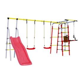 Детский спортивный комплекс уличный «Богатырь Плюс 2», 3572 × 2443 × 1855 мм, пластиковые качели