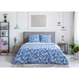 Постельное бельё Этель 1.5сп «Голубые пионы» 143х215 см, 150х70 см-2шт, 100% хлопок, перкаль
