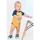 Боди детское, рост 86 см, цвет жёлтый, синий