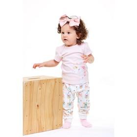 Футболка для девочки, рост 62 см, цвет светло-розовый