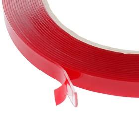 Клейкая лента Nova Bright-fusion, двусторонняя, акриловая  красный + прозрачный,  8 мм х 5 м