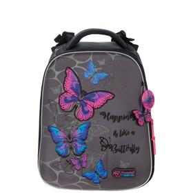 "Рюкзак каркасный Hummingbird T, 37.5 х 29 х 19, для девочки, ""Бабочки"", серый"