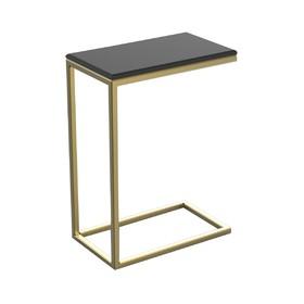 Столик приставной 'Неоклассика' ножки металл золото столешница черный, 26х45х60см Ош