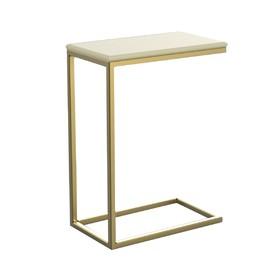 Столик приставной 'Неоклассика' ножки металл золото столешница белый, 26х45х60см Ош