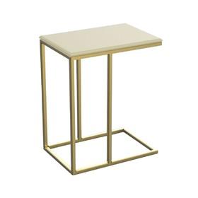 Столик приставной 'ArtDeco' ножки металл золото столешница слоновая кость, 34х50х60см Ош