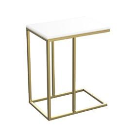 Столик приставной 'ArtDeco' ножки металл золото столешница белый, 34х50х60см Ош
