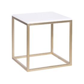 Стол декоративный 'ArtDeco' ножки металл золото столешница белая, 45х45х45см Ош