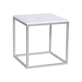 Стол декоративный 'ArtDeco' ножки металл серебро столешница белая, 45х45х45см Ош