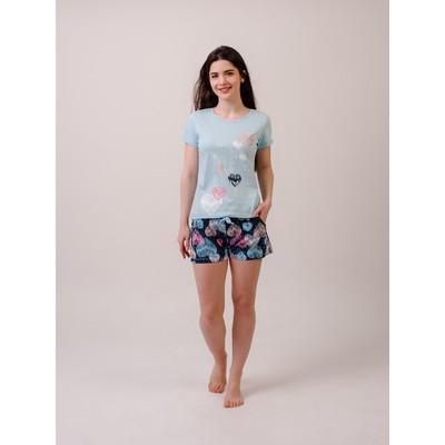 Комплект «Дино» женский (футболка, шорты) цвет голубой, размер 42