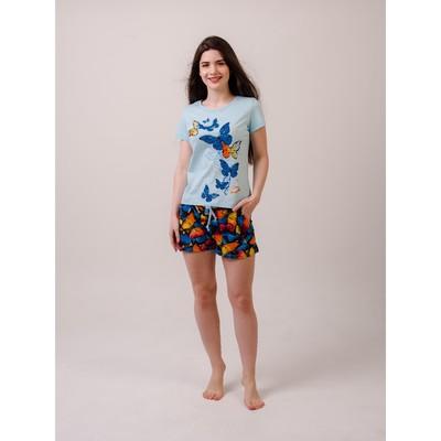 Комплект «Лимонница» женский (футболка, шорты) цвет голубой, размер 42