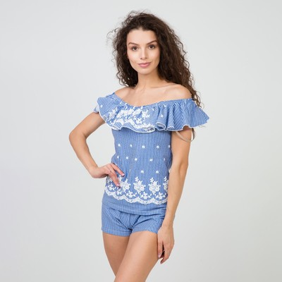 Комплект «Шик» женский (топ, шорты) цвет бело-голубой, размер 42