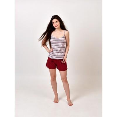 Комплект «Карина» женский (майка, шорты) цвет малиновый, размер 42