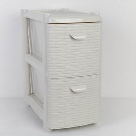 Комод-тумба 2-х секционный узкий «Ротанг», цвет белый Ош