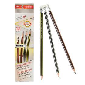 Набор карандашей чернографитных 12 штук 2.0 мм, Koh-I-Noor 1397, 2H, сверхгибкие, ластик, L=189 мм