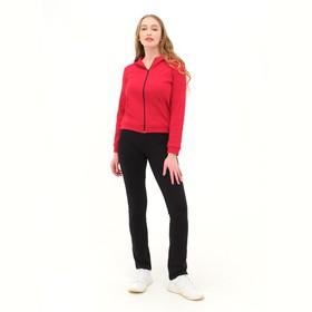 Костюм женский (толстовка, брюки) цвет красный/чёрный, размер 56 Ош
