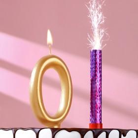 Набор Свеча для торта цифра 0 Гигант, золотая, с фонтаном Ош