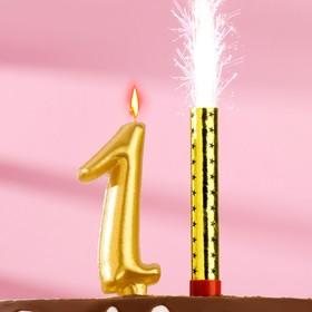 Набор Свеча для торта цифра 1 Гигант, золотая, с фонтаном Ош