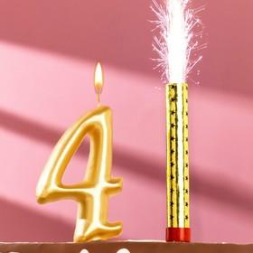 Набор Свеча для торта цифра 4 Гигант, золотая, с фонтаном Ош