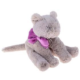 Мягкая игрушка «Кот», 15 см, цвет серый/фиолетовый