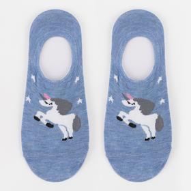 Носки-невидимки женские «Единорог» цвет голубой, размер 23-25 (36-40)