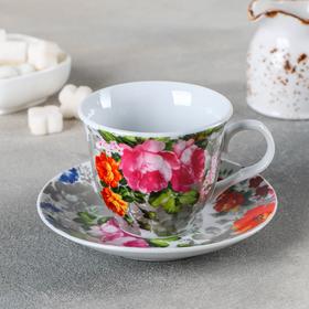 Чайная пара Флора «Цветение» 220 мл, блюдце
