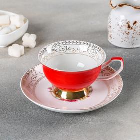 Чайная пара Палитра «Красный розарий» 200 мл, блюдце
