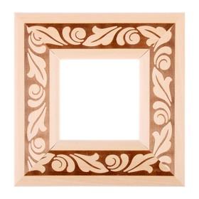 Рама для зеркал и картин, дерево, 10 х 10 х 5.0 см, липа, «Лепесток», горячее тиснение Ош