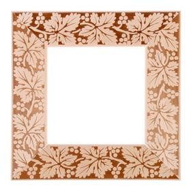 Рама для зеркал и картин, дерево, 15 х 15 х 5.0 см, липа, «Виноградная лоза», горячее тиснение Ош