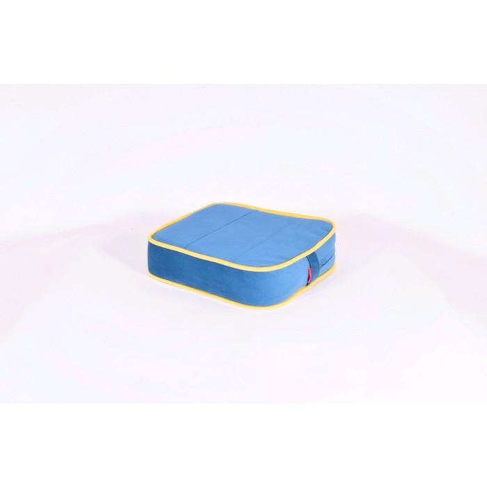 Подушка-пуф передвижной «Моби», размер 40 × 40 см, синий/жёлтый, велюр